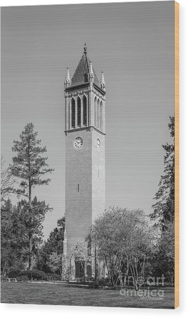 Iowa State University Campanile Wood Print by University Icons
