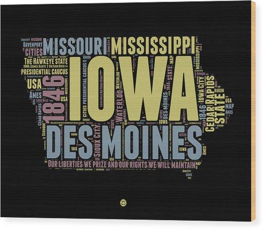 Iowa Word Cloud 1 Wood Print