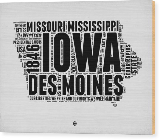 Iowa Word Cloud 2 Wood Print