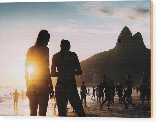 Ipanema, Rio De Janeiro, Brazil At Sunset Wood Print