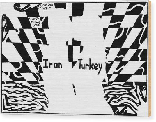 Iran And Turkey Kissing At Sunset By Yonatan Frimer Wood Print by Yonatan Frimer Maze Artist