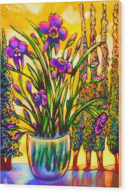Iris Wood Print by Angelina Marino