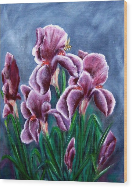 Iris Awakens Wood Print by Penny Everhart