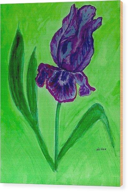 Iris Bloom Wood Print by Marsha Heiken