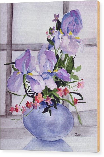 Iris Bouquet Wood Print by Ann Gordon