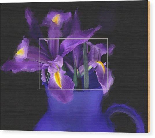 Iris In Blue Picture Wood Print by Daniel D Miller
