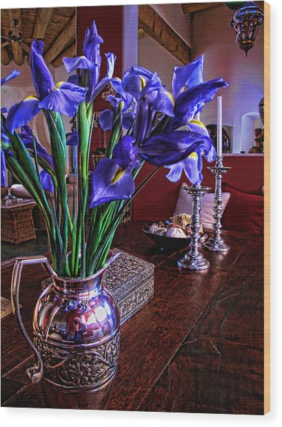 Iris In Silver Pitcher Wood Print