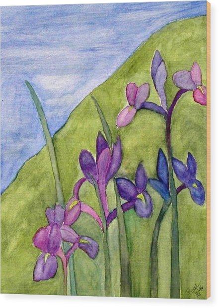 Iris Meadow Wood Print by Margie  Byrne