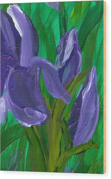Iris Up Close And Personal Wood Print by Wanda Pepin