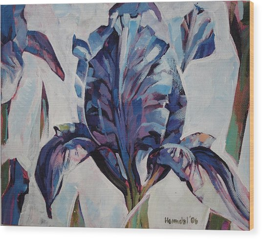 Iris Winter Wood Print