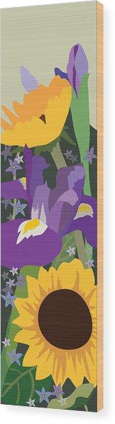 Irises And Sunflowers Wood Print by Marian Federspiel