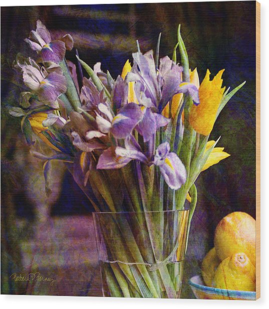 Irises In A Glass Wood Print