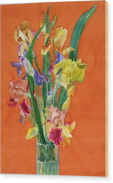 Irises Wood Print by Martha Zausmer paul