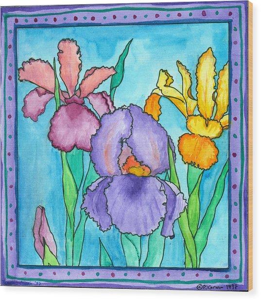Irises Wood Print by Pamela  Corwin