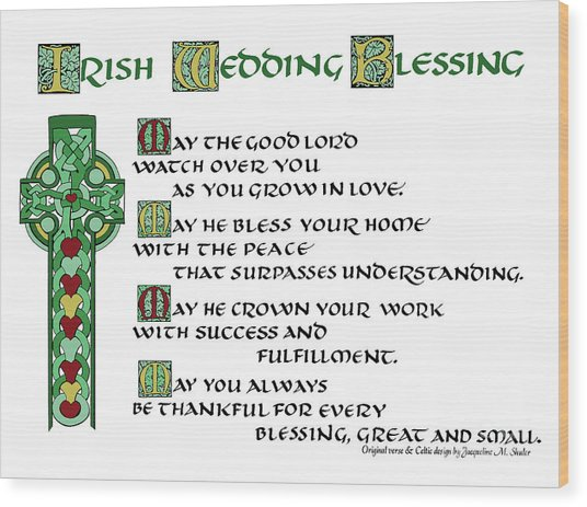Irish Celtic Wedding Blessing Wood Print