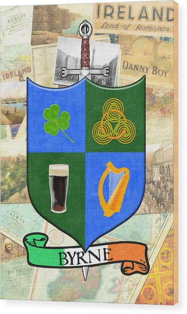 Irish Coat Of Arms - Byrne Wood Print by Mark Tisdale