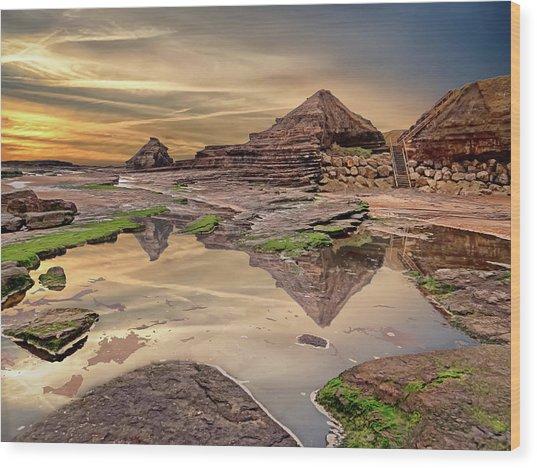 Irish Pyramids In Bundoran Wood Print