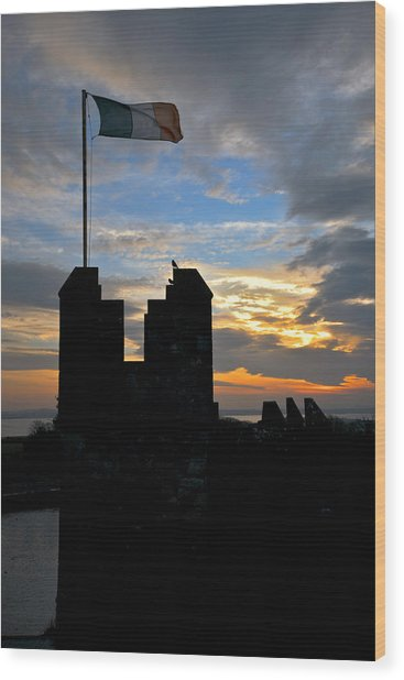 Irish Sunset Over Ramparts 1 Wood Print