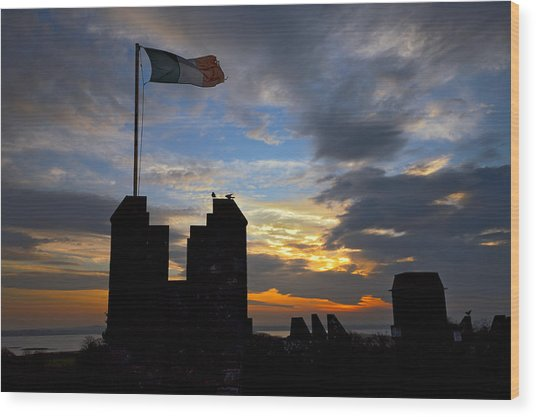 Irish Sunset Over Ramparts 2 Wood Print