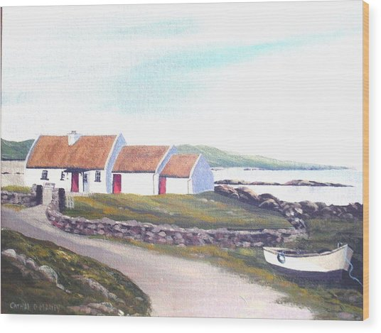 Irish Thatched Cottage Wood Print by Cathal O malley
