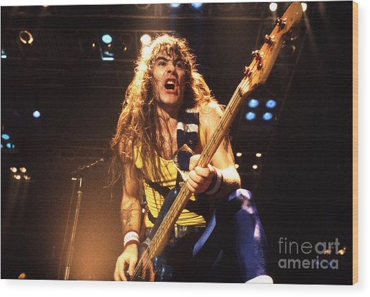 Iron Maiden 1987 Steve Harris Wood Print