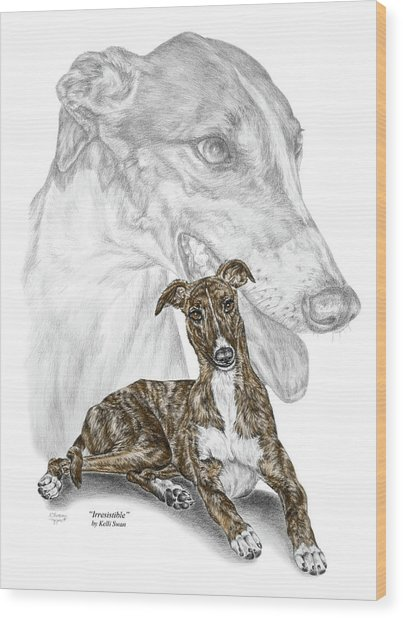 Irresistible - Greyhound Dog Print Color Tinted Wood Print