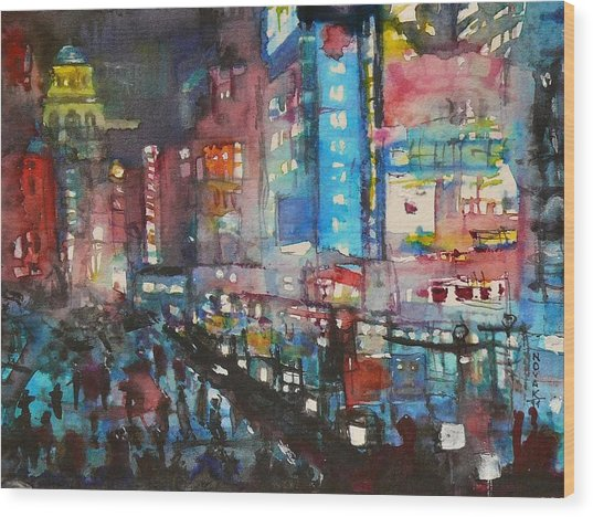 Is There Anything Going On Tonight In Downtown Wood Print by Dreja Novak