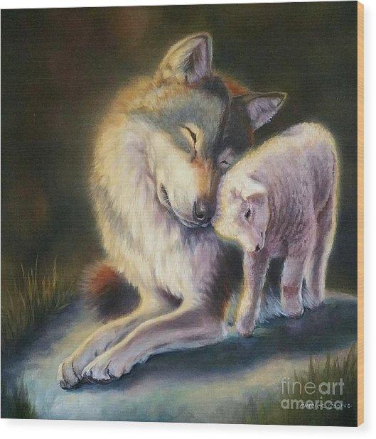 Isaiah Wolf And Lamb Wood Print