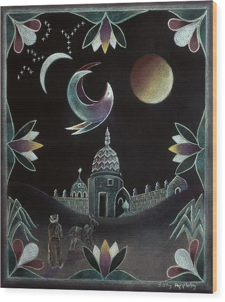 Islamic Night Wood Print by Sally Appleby