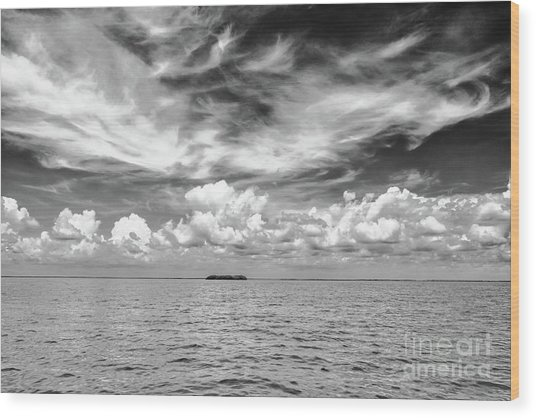 Island, Clouds, Sky, Water Wood Print
