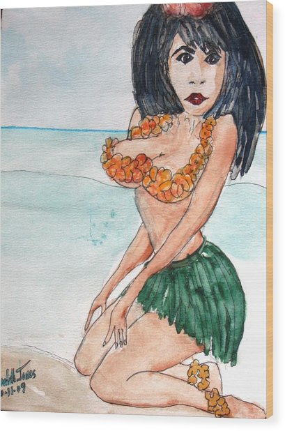 Island Girl Wood Print by Meredith Jones