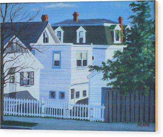 Wood Print featuring the painting Island Heights Back Yards by Robert Henne