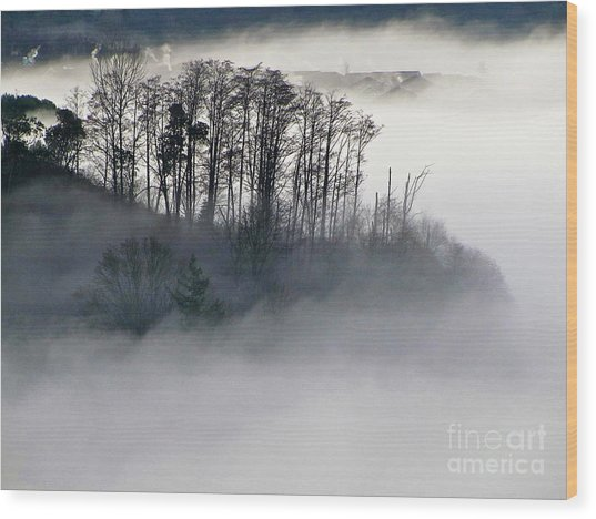 Island In The Morning Mist Wood Print