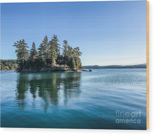 Island In West Sound Wood Print