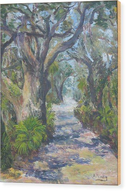 Island Lane Wood Print by Albert Fendig