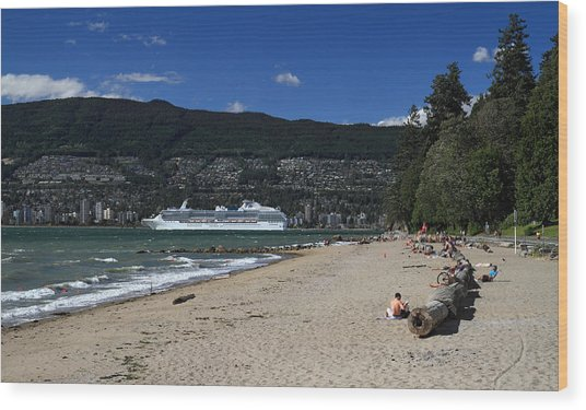 Island Princess Cruise Ship From Third Beach Stanley Park Vancouver B.c  Canada Wood Print by Pierre Leclerc Photography