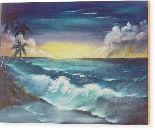 Island Sunset  Wood Print by Dina Holland