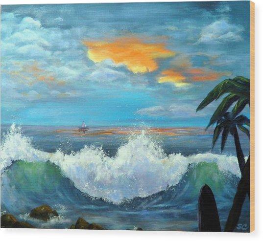 Island Time - Sunset Wood Print