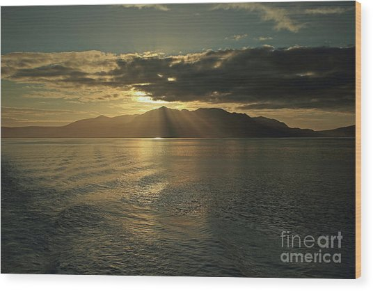 Isle Of Arran At Sunset Wood Print