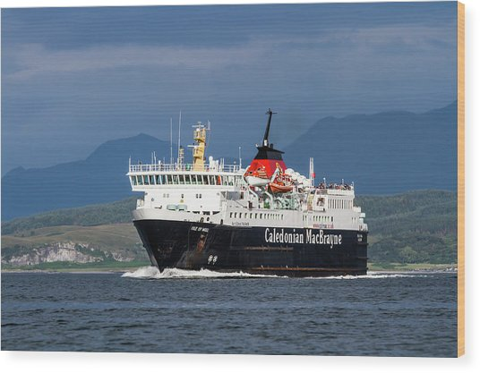 Isle Of Mull Ferry Crosses The Firth Of Lorne Wood Print