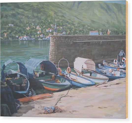 Isola Pescatori Fishing Boats Wood Print
