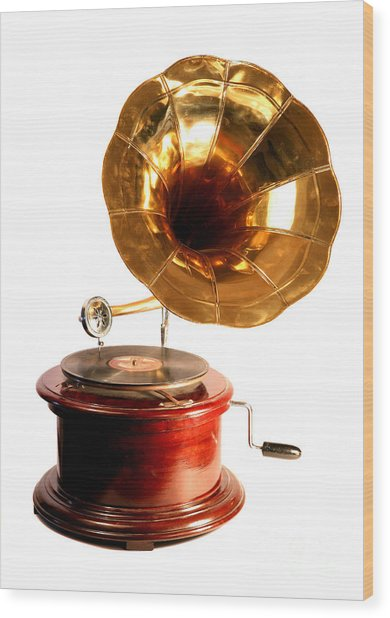 Isolated Antique Gramophone Wood Print