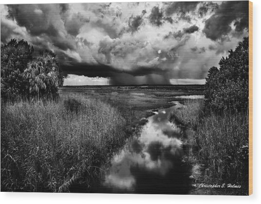 Isolated Shower - Bw Wood Print