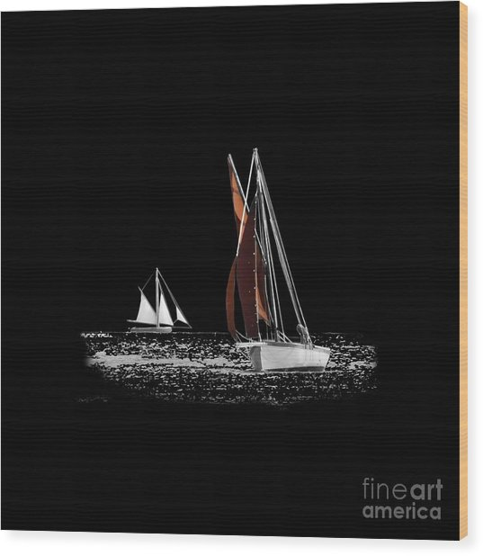 Isolated Yacht Carrick Roads On A Transparent Background Wood Print