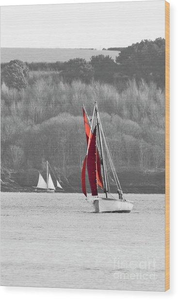 Isolated Yacht Carrick Roads Wood Print