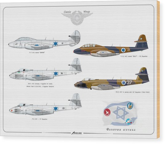 Israeli Air Force All Times Gloster Meteors Wood Print