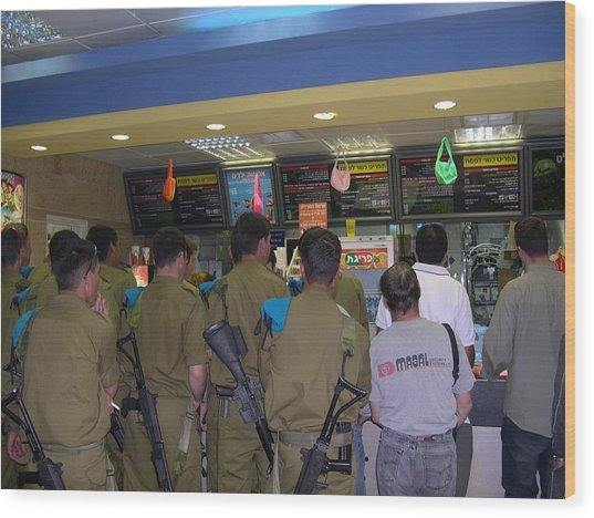 Israeli Soldiers Stop At A Kosher Mcdonald's Wood Print by Susan Heller