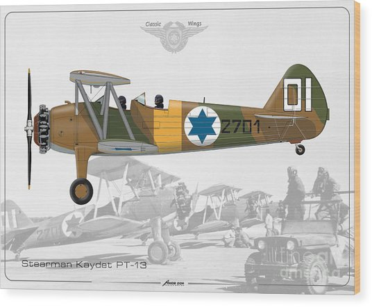 Israeli Air Force Stearman Kaydet Pt-13 Wood Print