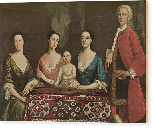 Issac Royall And His Family Wood Print by Robert Feke
