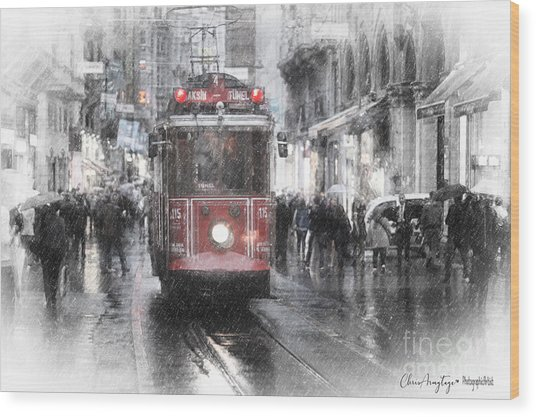 Istambool Historic Tram Wood Print